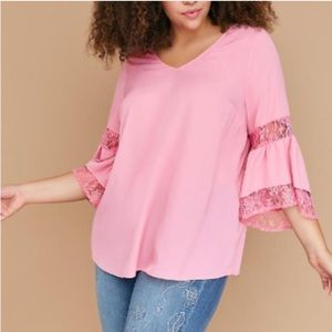 Lane Bryant Pink Lace Bell Sleeve Blouse Sz 18/20